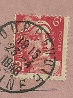 AVIS DE RECEPTION 514  AVEC 6F MARIANNE DE GANDON VARIETE DE PIQUAGE - Marcophilie (Lettres)