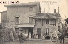 RARE CPA : SAINTE-EUPHEMIE LE GRAND MOULIN ANIME FERME ATTELAGE 01 AIN - Francia