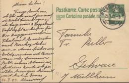 SCHWEIZ  MiNr. P 82 II, ZNr. 72 Y Mit Stempel: Rüschlikon 25.X.1923 - Ganzsachen