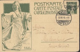 SCHWEIZ  MiNr. P 38 A, Mit Stempel: Basel 22.III.1910 - Ganzsachen