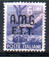 1947/8 Trieste - Fr. Italiani Soprastampati Su Due Righe 6 L - 7. Triest