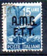 1947/8 Trieste - Fr. Italiani Soprastampati Su Due Righe 15 L - Usati