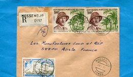 MARCOPHILIE-CONGO Lettre REC-por Françe-cad MOSSENDJO-3 Stamps N°355 De Gaulle 1944 Conférence Brazzaville - Congo - Brazzaville