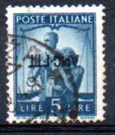 1949/0 Trieste - Democratica Soprastampati Su Una Riga 5 L - Usati