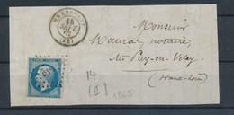 FRANCE - N°YT 14B OBLITERE SUR DEVANT DE LETTRE PC 510 BRESSUIRE FINISTERE CAD DU 15/9/1862 - 1853-1860 Napoleon III
