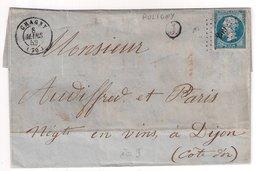 """CHAGNY : Lettre De 1859 : Boite Rurale  J """" Puligny """" (  Identifiée ) : Saône Et Loire - Marcophilie (Lettres)"""