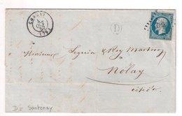 """CHAGNY : Lettre De 1859 : Boite Rurale  D """" Santenay """" (  Identifiée ) : Saône Et Loire - Marcophilie (Lettres)"""