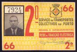 1966 Passe STCP Serviço Transportes Colectivos Do PORTO Rede Tracção Electrica. Pass Ticket TRAM Portugal 1966 - Abonnements Hebdomadaires & Mensuels