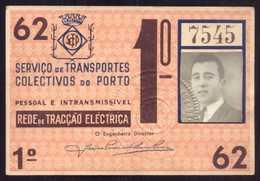 1962 Passe STCP Serviço Transportes Colectivos Do PORTO Rede Tracção Electrica. Pass Ticket TRAM Portugal 1962 - Abonnements Hebdomadaires & Mensuels