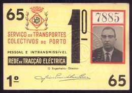 1965 Passe STCP Serviço Transportes Colectivos Do PORTO Rede Tracção Electrica. Pass Ticket TRAM Portugal 1965 - Abonnements Hebdomadaires & Mensuels