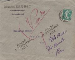 LAC 1913 - Entête  Ludovic CAUUET - FUBLAINES (Seine Et Marne) -  Retour à L'envoyeur - Décédé - Postmark Collection (Covers)