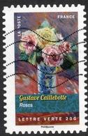 2015 Gustave Caillebotte Roses Valeur Faciale: 0,68 € Timbre Autoadhésif Oblitéré FRANCE Bouquets De Fleurs - France