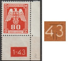 82/ Bohemia & Moravia - Service Stamps; ** Nr. SL 17; Corner Stamp, 2nd Issue, Printing Plate 2, Number 1-43 - Unused Stamps
