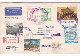 ENVELOPPE CIRCULEE PARAGUAY A ALEMANIA YEAR 1989 RETOUR RECOMMANDEEMIXED STAMPS - BLEUP - Paraguay