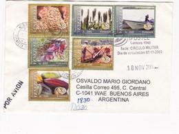 ENVELOPPE CIRCULEE 2003 VENEZUELA TO ARGENTINA MIXED STAMPS AUTRES MARQUES FDC PAR AVION RECOMMANDE - BLEUP - Venezuela
