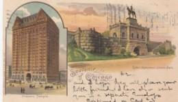 Chicago Illinois, Masonic Temple & Grant Monument In Lincoln Park, C1890s/1900s Vintage Postcard - Chicago