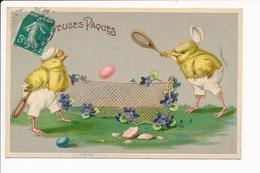 Carte Gaufrée Humoristique Joyeuses Pâques  Poussin Humanisé Jouant Au Tennis Série SB 2369 - Easter