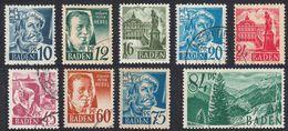 BADEN - DEUTSCHLAND - ALLEMAGNE - GERMANIA - 1947/1948 - Lotto 9 Valori Obliterati: Yvert 3, 4, 6, 7, 8, 9, 10, 11 E 12. - Zone Française
