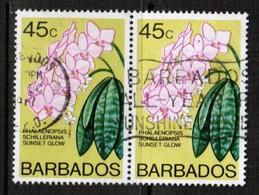 BARBADOS  Scott # 406B VF USED PAIR (Stamp Scan # 461) - Barbados (1966-...)