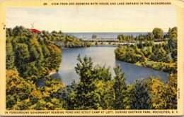 New York Rochester View From Zoo Showing Bath House And Lake Ontario Curteich - Rochester