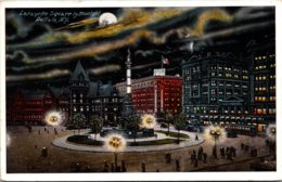 New York Buffalo Lafayette Square By Moonlight 1917 - Buffalo