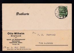 Posthorn 40 M. Auf Firmenpostkarte (Otto Wilhelm, Stralsund) Ab Stralsund 1.5.23 - Deutschland