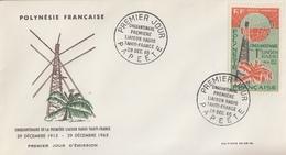 Enveloppe  FDC  1er Jour  POLYNESIE   Cinquantenaire  1ére  Liaison  Radio  TAHITI - FRANCE   1965 - FDC
