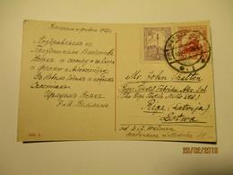 1927 POLAND WARSZAWA TO LATVIA , ANGEL WITH VIOLIN POSTCARD   ,0 - 1919-1939 Republik