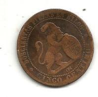 Monnaie , Espagne ,cinco Centimos , 1870 , 2 Scans - Münzen Der Provinzen