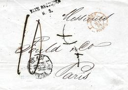 """1864- Lettre De FRANCFORT  Avec """" TAXE RECTIFIEE / R.  3 """" Taxe 5 Barrée Et Remplacée Par 10 D - Postmark Collection (Covers)"""