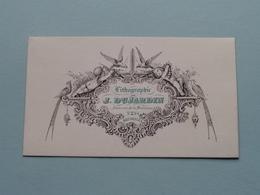 Lithographie De J. DUJARDIN Petite Rue De La Madeleine N° 2 BRUXELLES ( Porcelein / Porcelaine ) Formaat +/- 8,5 X 5 Cm! - Cartes De Visite
