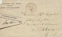 1872- Administration Des Postes- Réponse à Une Réclamation - Cad T17 De Marseille ROUGE Pour Alger - 1849-1876: Classic Period