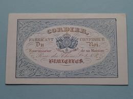 CORDIER Fabricant - Confiseur Rue Du Chêne N° 8 BRUXELLES ( Porcelein / Porcelaine ) Formaat +/- 9,5 X 6 Cm - Cartes De Visite