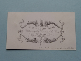 F. T. HANNOTIAU Lithographe Rue Du Beguinage 16 BRUXELLES ( Porcelein / Porcelaine ) Formaat +/- 8,5 X 5 Cm - Cartes De Visite
