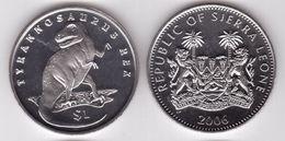 SIERRA LEONE  1 DOLLARO 2006 YEAR DINOSAUR TYRANNOSAURUS REX FDC UNC - Sierra Leone