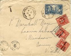 1939-enveloppe Affr. 2,25 F N°427 Seul Oblit. Cad Octogonal. NEW YORK AU HAVRE  C  TAXEE 6 Cents - Posta Marittima