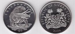 SIERRA LEONE 1 DOLLARO 2006 TRICERATOP FDC UNC - Sierra Leone