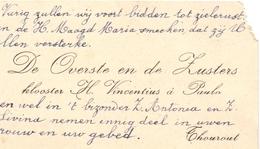 Visitekaartje - Carte Visite - Overste & Zusters St Vincentius à Paulo - Torhout - Cartes De Visite