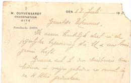 Visitekaartje - Carte Visite - Onderpastoor M. Duyvewaardt - Gits - Cartes De Visite