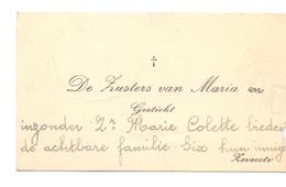 Visitekaartje - Carte Visite - Zusters Van Maria - Gesticht Zevekote - Cartes De Visite