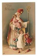 CPA GAUFRE VIVE SAINT NICOLAS ENFANTS POUPEE - GAUFRAGE - CHILDREN DOLL - MUÑECA - MADE IN GERMANY - Saint-Nicholas Day