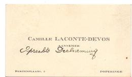 Visitekaartje - Carte Visite - Aannemer Camille Laconte - Devos - Poperinge - Cartes De Visite