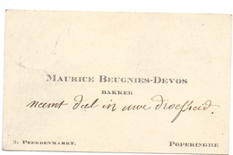 Visitekaartje - Carte Visite - Bakker Maurice Beugnies - Devos- Poperinge - Cartes De Visite