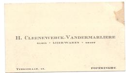 Visitekaartje - Carte Visite - IJzerwaren H. Cleenewerck - Vandermarliere - Poperinge - Cartes De Visite