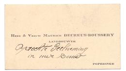 Visitekaartje - Carte Visite - Landbouwer Maurice Decreus - Boussery  - Poperinge - Cartes De Visite