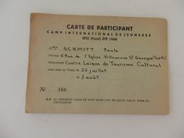 Carte De Participant Camp International De Jeunesse à Otz (Tyrol) De Melle Schmitt Paula De Villeneuve (91). - Cartes