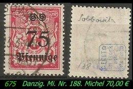 Mi. Nr. 187 In Gebraucht - Geprüft - SOBBOWITZ ! - Danzig