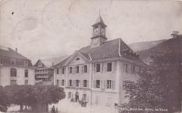 Photo Carte De Moutier Hôtel De Ville Circulée En 1917 Avec Cachet Militaire Voir Verso - BE Berne