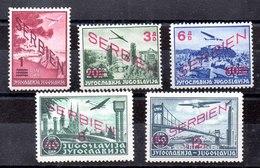 Serie De Ocupación Alemania Serbia N º Michel 26/30 ** - Ocupación 1938 – 45
