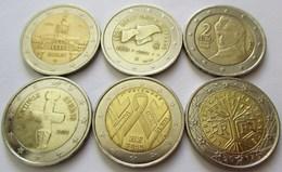 LOT DE 6 SIX PIECES DIFFERENTES DE DEUX 2 EUROS EURO - Altri